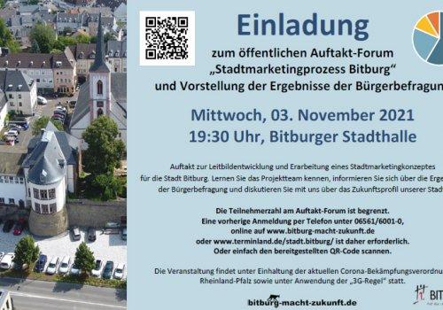 """Einladung zum öffentlichen Auftakt-Forum """"Stadtmarketingprozess Bitburg"""" & Vorstellung der Ergebnisse der Bürgerbefragung"""